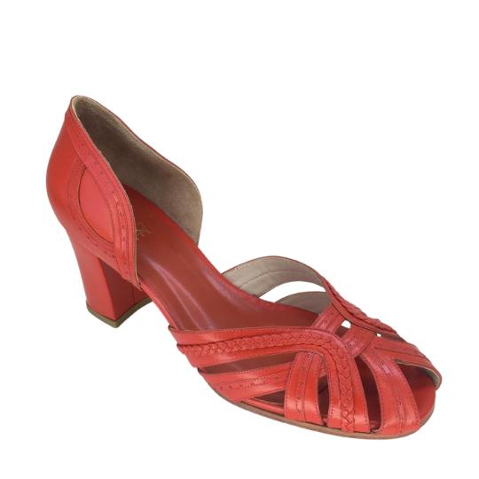 Sapato Luiza Pelica Tangerina 6 cm
