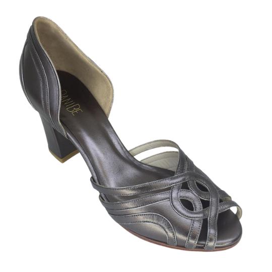 Sapato Malu Pelica Metalizada Chumbo 6 cm