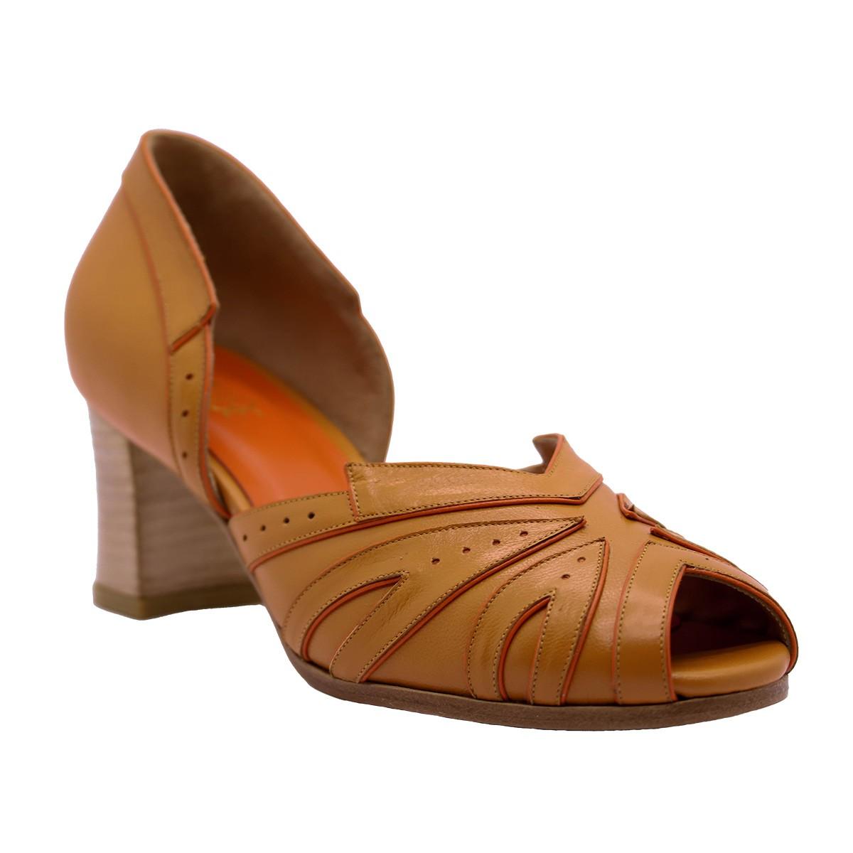 Sapato Manolo Pelica Laranja 6 cm