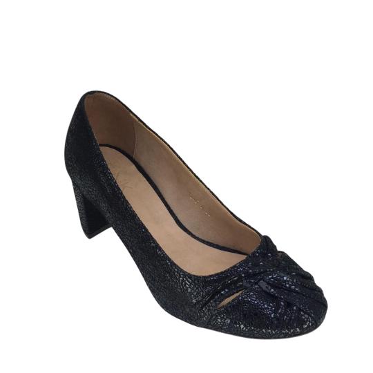 Sapato Maria Bonita Couro Spacato Preto  5 cm