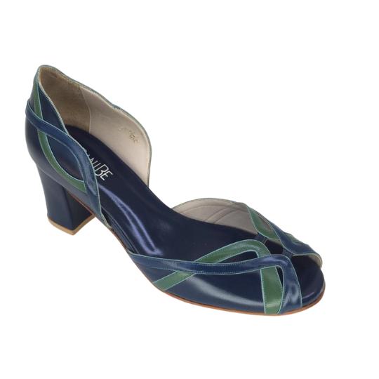 Sapato Monica Pelica Azul Marinho 6 cm