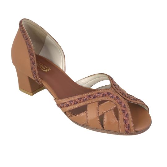 Sapato Nina Pelica Telha Marrom 3,5 cm