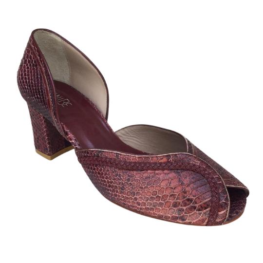 Sapato Patricia Anaconda Vinho 6 cm