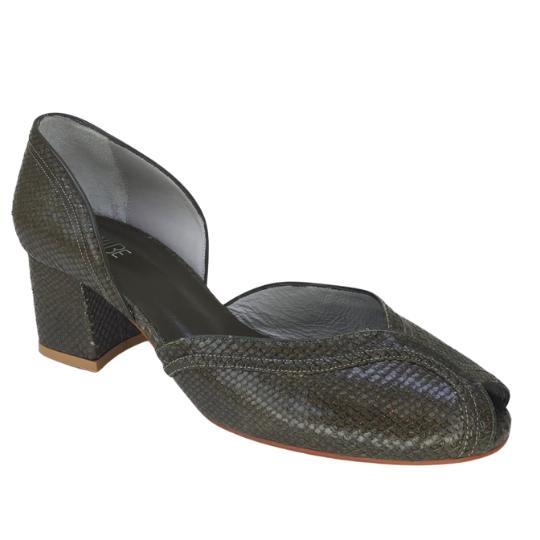 Sapato Patricia Cobra Fake Musgo 5 cm