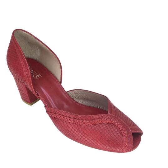 Sapato Patricia Cobra Fake Vermelho 5 cm