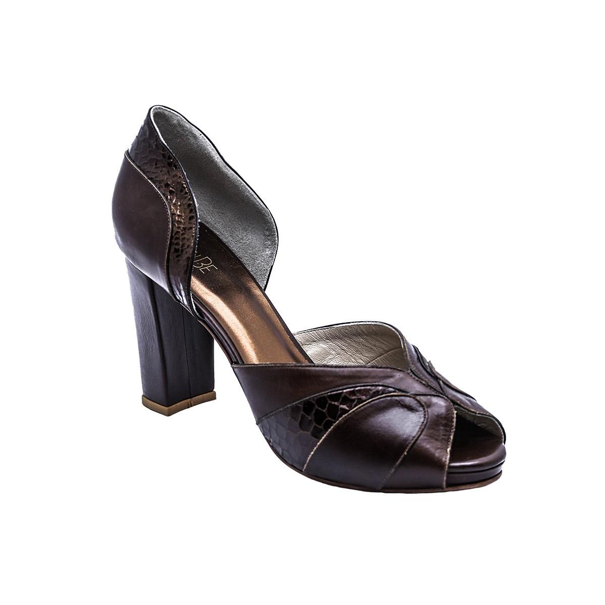 Sapato Paula Pelica Marrom 8 cm