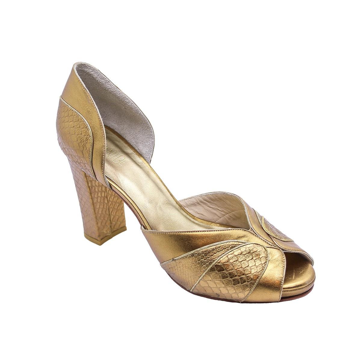 Sapato Paula Tilápia Ouro Velho 8 cm