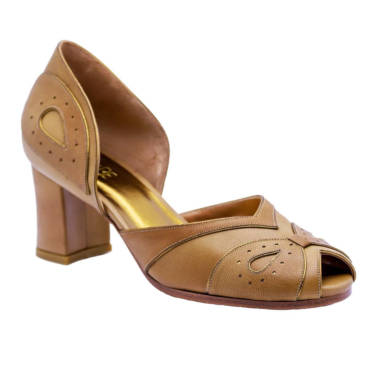 Sapato Renata Pelica Caramelo 6 cm