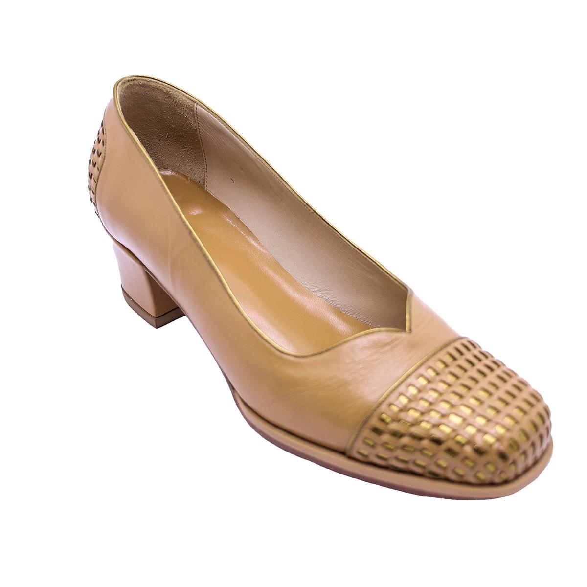 Sapato Ruth Tresse  Pelica Amêndoa 4 cm