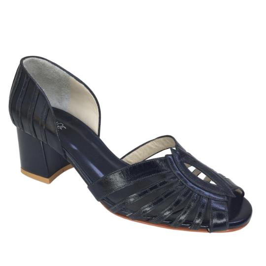 Sapato Sandra Pelica Preta 5 cm