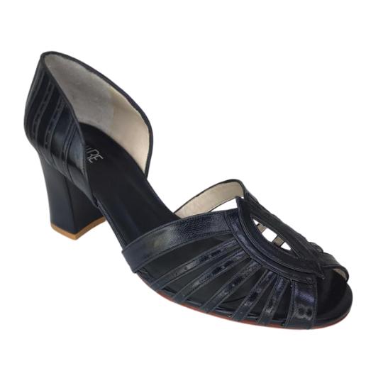Sapato Sandra Pelica Preta 6 cm