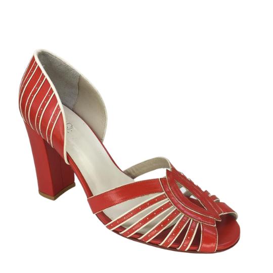Sapato Sandra Pelica Vermelha 7 cm