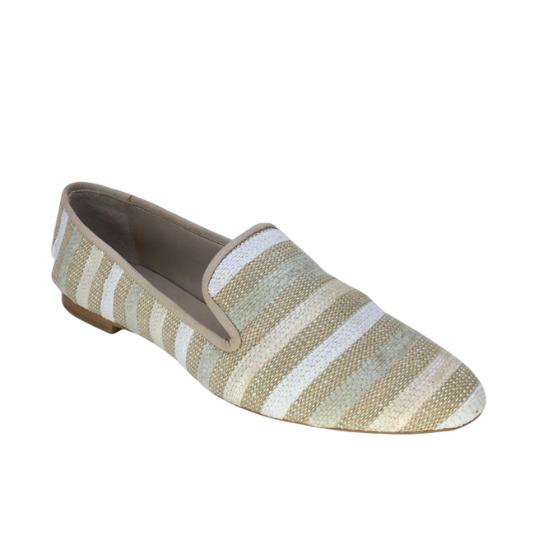 Sapato Slipper Listras Tecido Creme