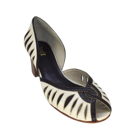 Sapato Tigrado Pelica Off White 6 cm