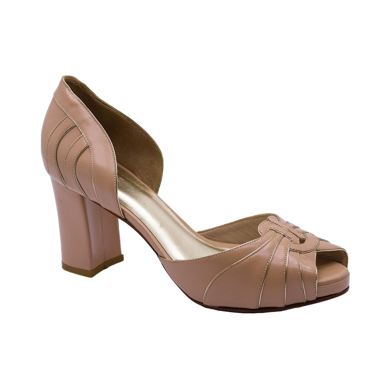 Sapato Veneza Pelica Nude Rosado 8 cm