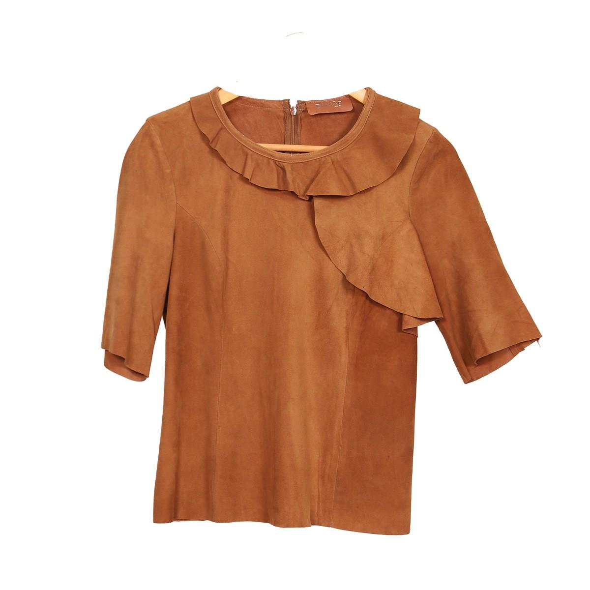 T-Shirt Babado Chamois Caramelo