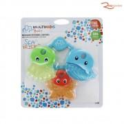 Brinquedo Multikids Baby Mordedor Resfriável Sea Friends Azul +3m