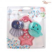 Brinquedo Multikids Baby Mordedor Resfriável Sea Friends Rosa +3m