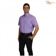 Camisa Individual Manga Curta Lisa Com Bolso Lilás Em Algodão Egípcio