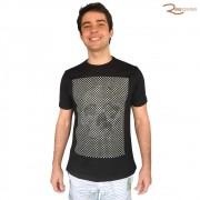 Camiseta Saka Praia Básica Preta Estampa de Estrelas