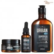 Kit Farmaervas Urban Men Óleo + Shampoo + Pomada + Necessaire