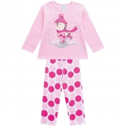 Pijama Longo Boneco de Neve Kyly Rosa