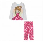 Pijama Longo Flamingo Kyly Rosa