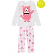 Pijama Longo Monstrinhos Kyly Branco