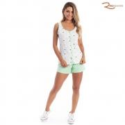 Shortdoll Paulienne Regata Abertura no Peito Malha Verde Claro Estampado Bolinha