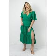 Vestido Longo em Crepe Esmeral Verde