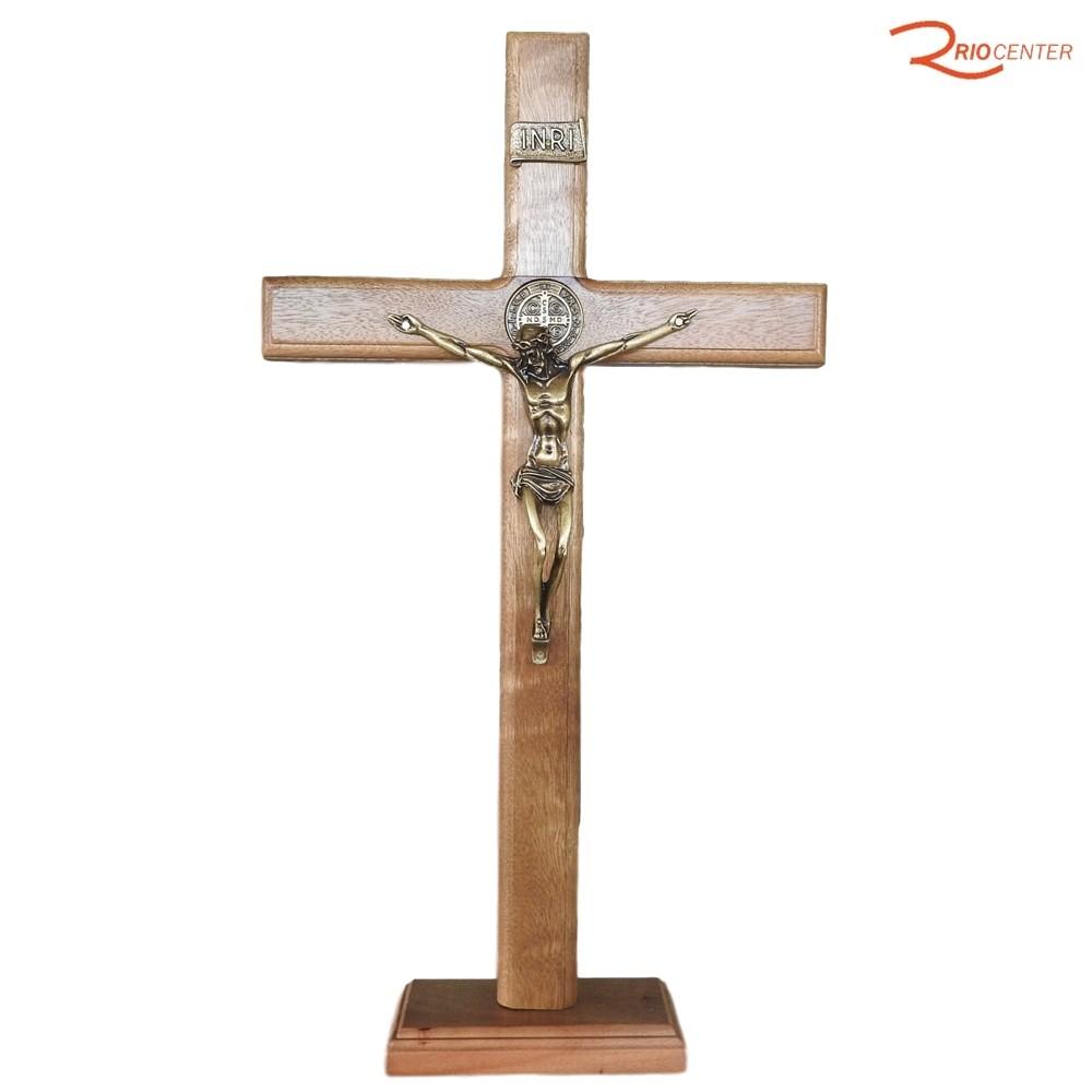 Adorno Santorini Crusifixo Em Madeira 40 cm