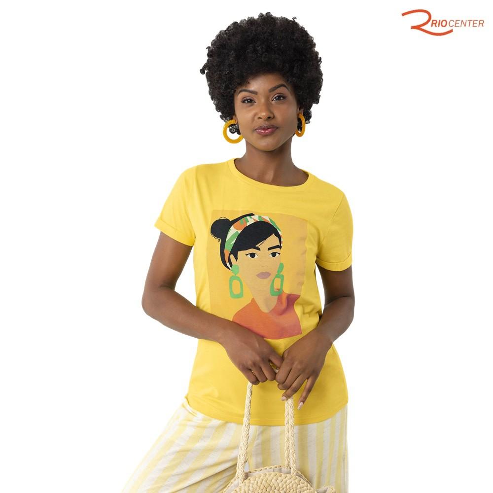 Blusa Lunender Em Malha Manga Curta Com Silk Estilo Pop Amarela