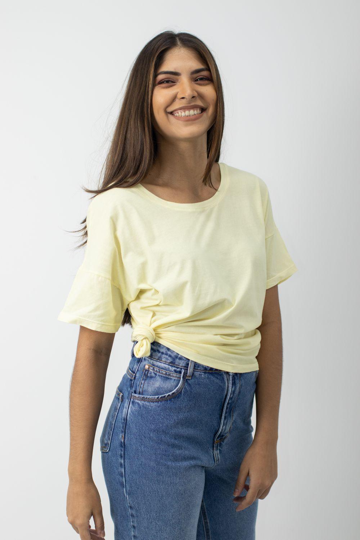 Blusa Mangas Curtas Babadinho Moça Bonita Amarela