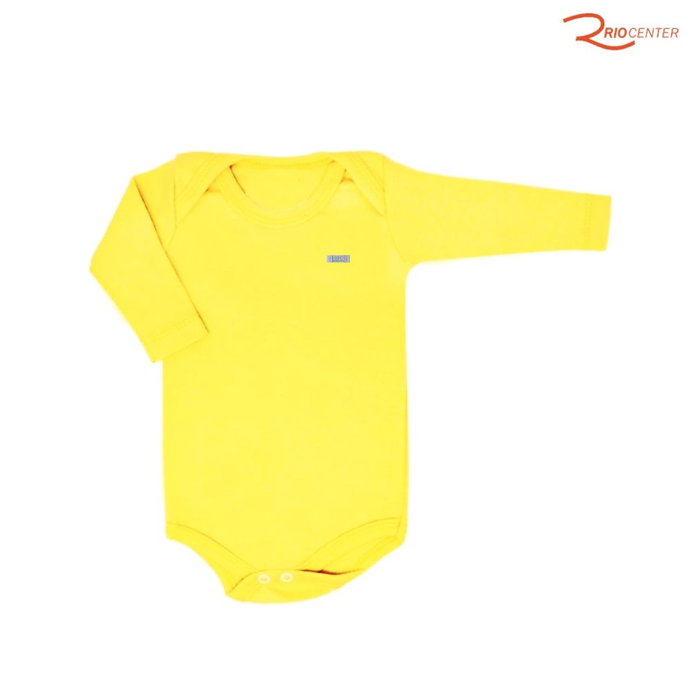Body Havefun Liso em Malha Ribana Amarelo