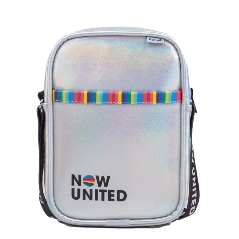 Bolsa Tiracolo Now United by Pampili com Alça Personalizada Prata Holográfica