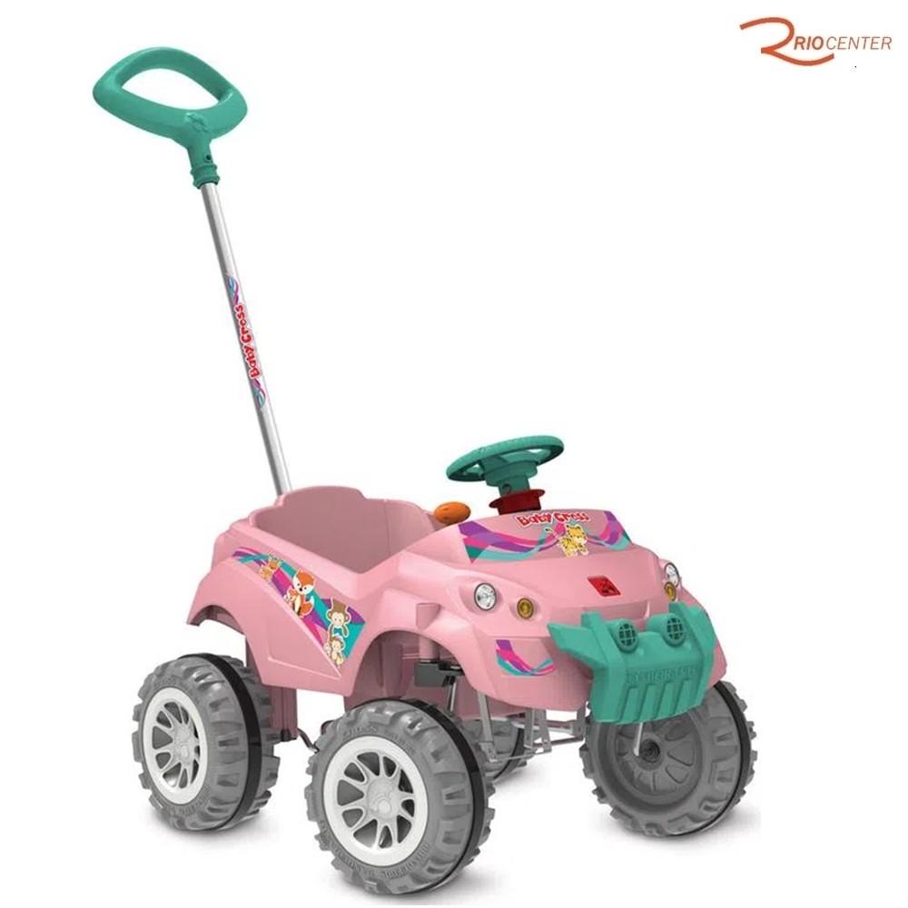 Brinquedo Bandeirante Carrinho Baby Cross Passeio com Pedal Rosa +12m