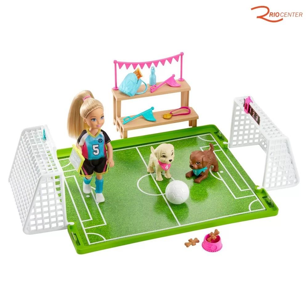 Brinquedo Barbie Mattel Chelsea Futebol Com Cachorrinhos +3a