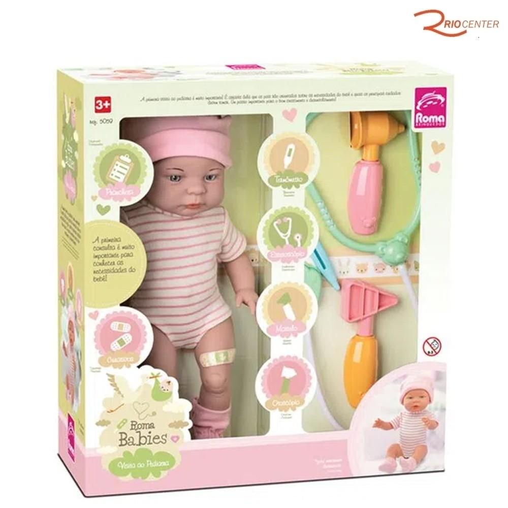 Brinquedo Boneca Roma Babies Visita ao Pediatra +3a