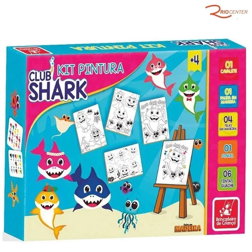 Brinquedo Brincadeira de Criança Kit Pintura Club Shark +4a