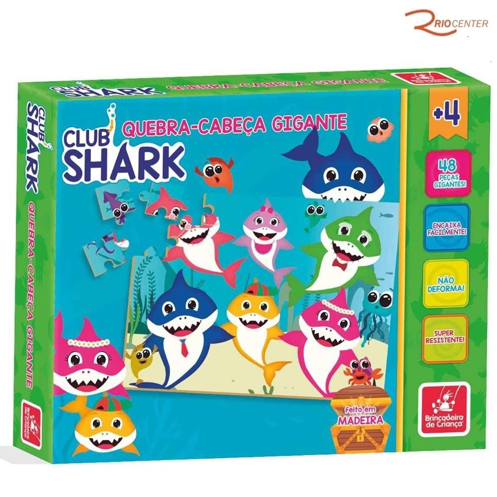 Brinquedo Brincadeira de Criança Quebra-cabeça Gigante Club Shark +4a