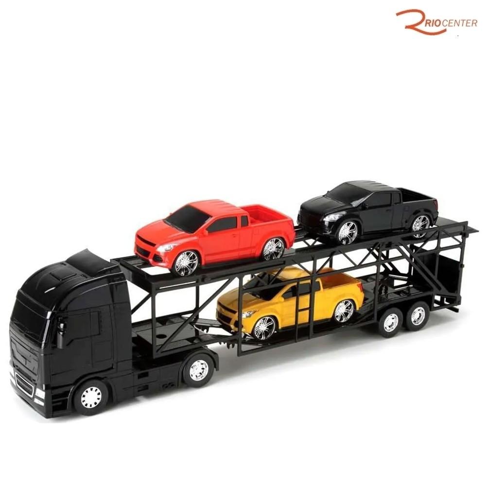 Brinquedo Caminhão Roma Petroleum Cegonheira Preto +3a