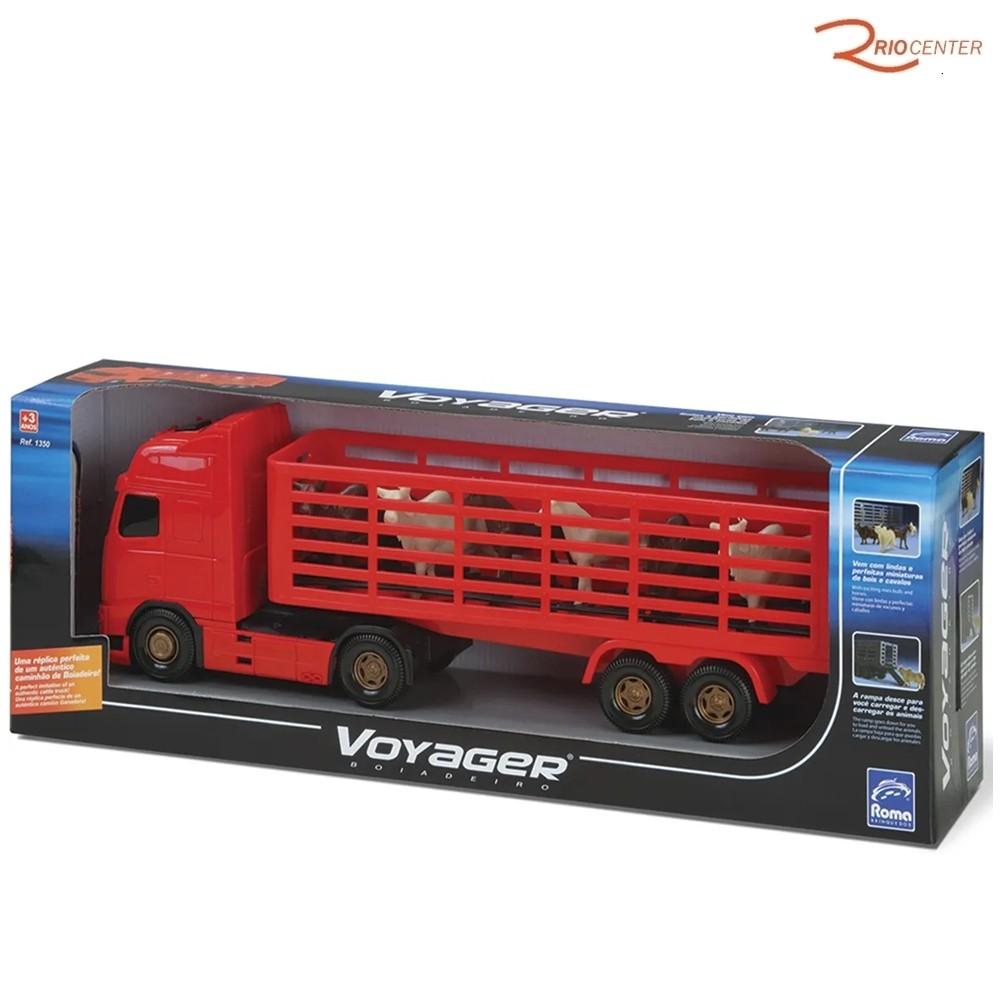 Brinquedo Caminhão Roma Voyager Boiadeiro Vermelho +3a