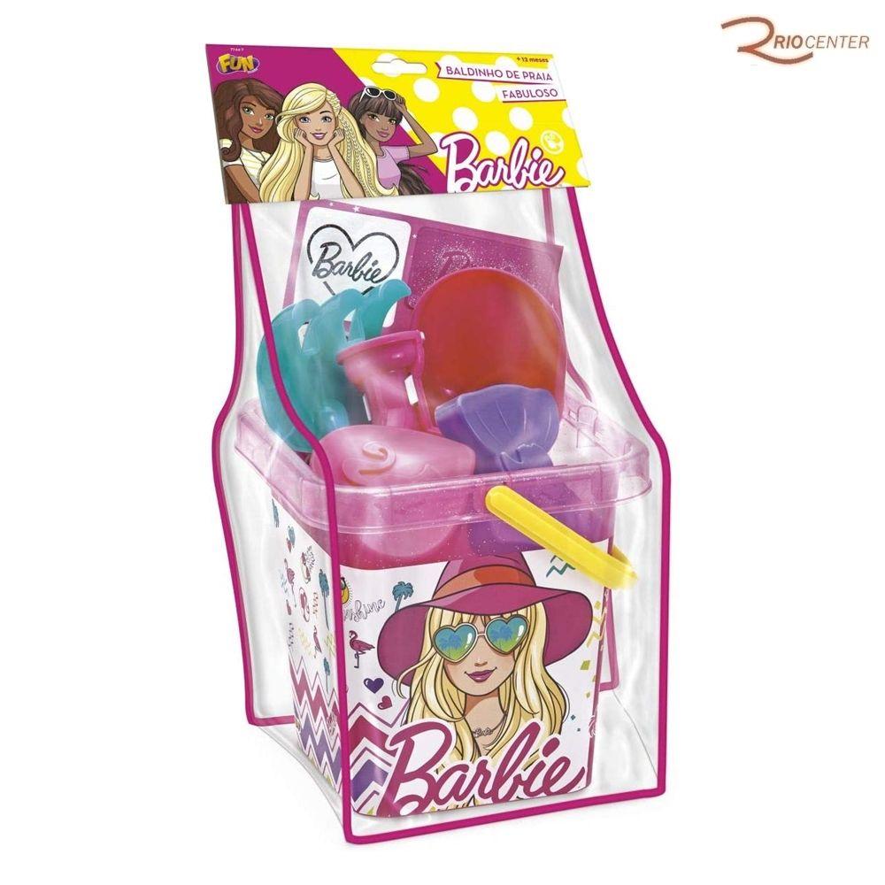 Brinquedo Fun Barbie Baldinho de Praia Fabuloso +12m