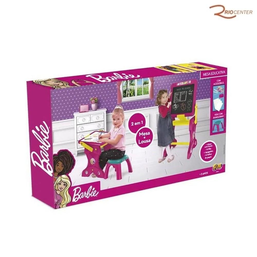 Brinquedo Fun Barbie Mesa Educativa 2 Em 1 +3a