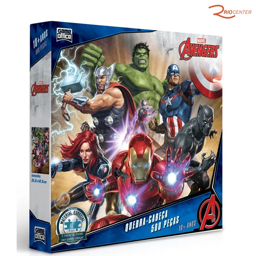 Brinquedo Game Office Quebra-cabeça Avengers 500 Peças +10a