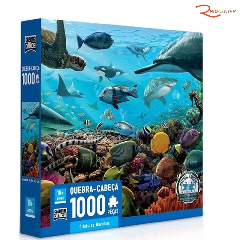 Brinquedo Game Office Quebra-cabeça Criaturas Marinhas 1000 Peças +10a