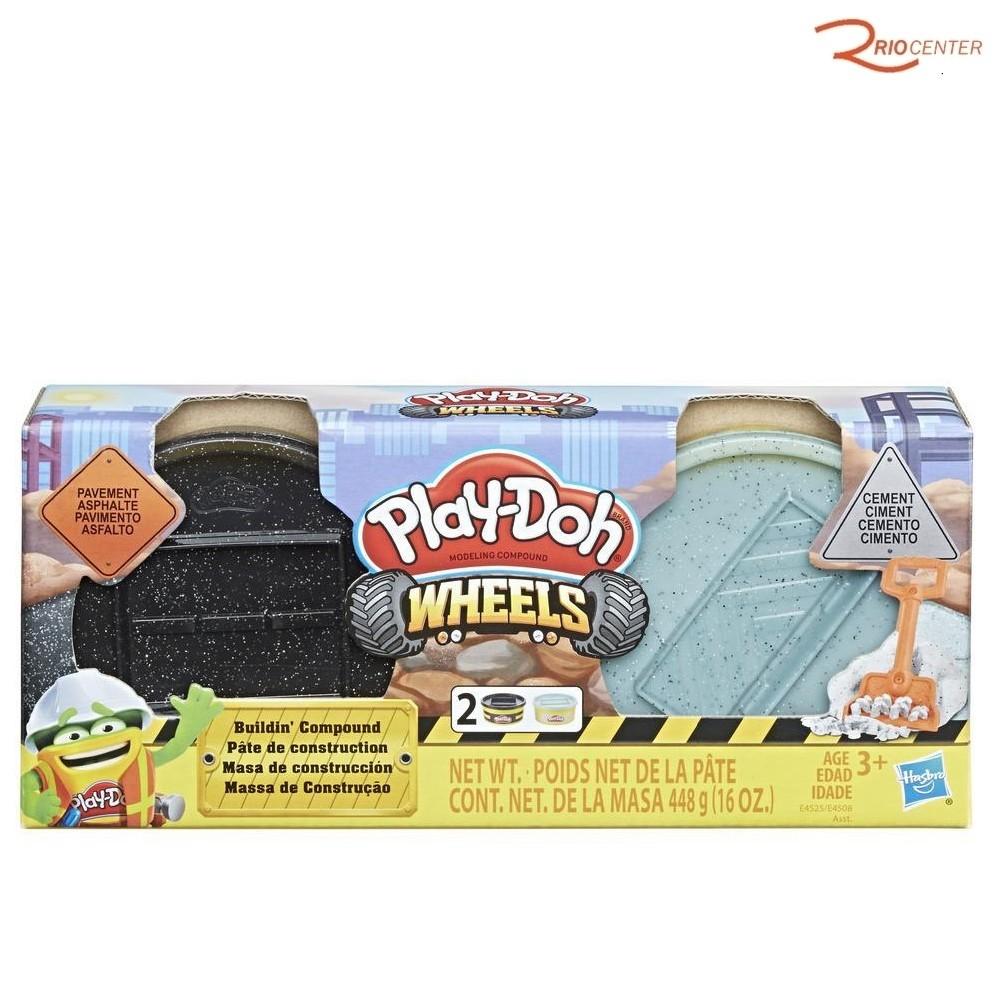 Brinquedo Hasbro Play-doh Wheels Massa de Construção Kit Cimento e Asfalto +3a