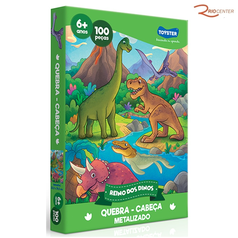 Brinquedo Toyster Jogo Quebra-Cabeça Reino dos Dinos Metalizado 10 Peças +6a