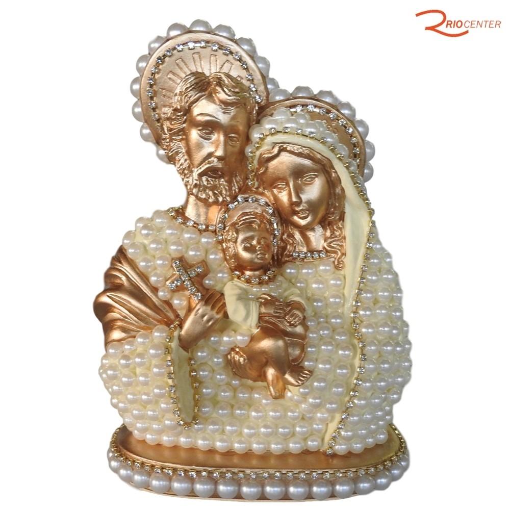 Busto Santorini Sagrada Família Dourado 20 cm
