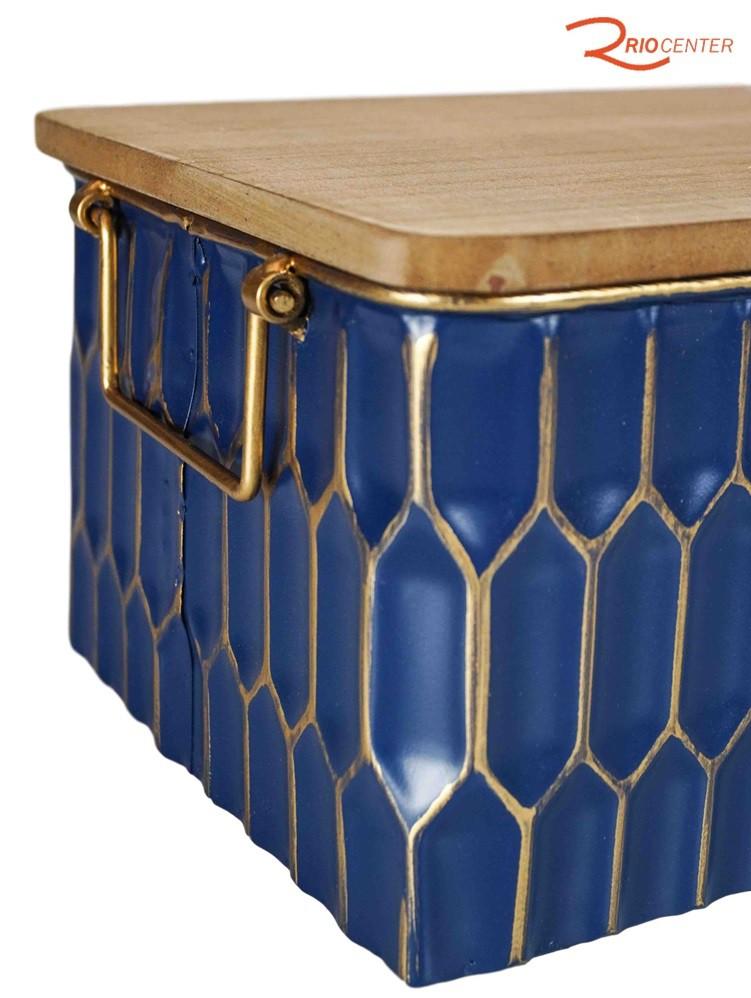 Caixa Decorativa Metal Casa Rio Com Tampa De Madeira